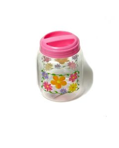 "Chef Craft Easter Storage Jar Flower 8.5"" Storage Container, Pink Blue Clear"