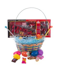 "Police & Fire Emergency Vehicle 36pc 15"" Easter Basket Gift Set, Blue Red"
