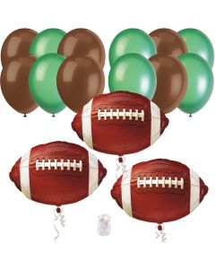 Football Super Bowl Party Bouquet Decorations 15pc Balloon Pack, Brown Green