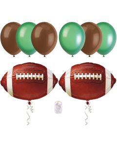 Football Super Bowl Party Bouquet Decorations 8pc Balloon Pack, Brown Green