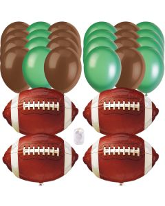 Football Super Bowl Party Bouquet Foil & Latex 28pc Balloon Pack, Brown Green