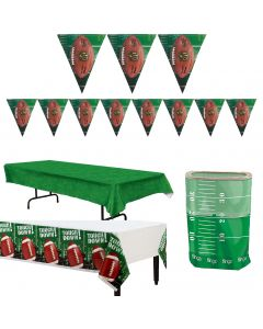 Football Football Tailgate Party Supply 4pc Decoration Pack, Green White Brown