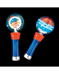 "Light-Up Spinning Patriotic 4th of July 7.5"" LED Toy, Red White Blue"