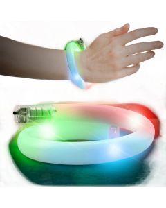 """Light-Up Glow Flashing Wrap Around LED Bracelet, White, One Size 3-3.75"""""""