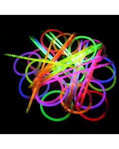 "Glow-In-The-Dark Party Bracelets 8"" Glow Sticks w Connectors, Assorted, 100 Pack"