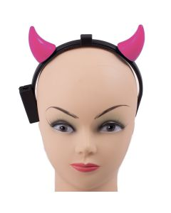 Light-Up Devil Horns Halloween Costume LED Headband, Pink, 6.5""