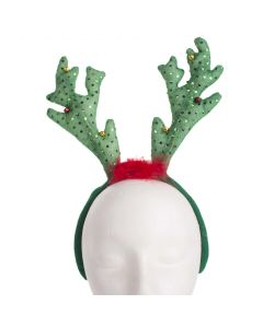 Blinky Soft Reindeer Antlers with Jingle Bells Headband, Green Red, 7.5""