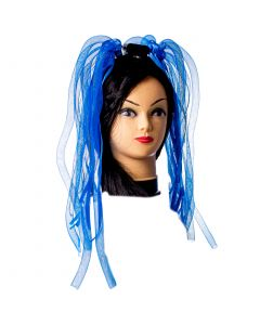 Veil Entertainment Light-Up Neon Rave Noodle Hair LED Headband, Blue, One-Size