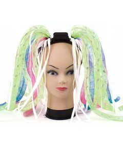 Light-Up Neon Rave Noodle Hair LED Headband, Pink Green Blue, One-Size