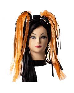 Light Up Flashing Ribbons Hair Noodle LED Headband, Orange Black, One-Size