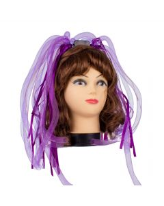 Veil Entertainment Light-Up Neon Rave Noodle Hair LED Headband, Purple, One-Size