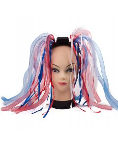 Light-Up Patriotic Noodle Hair LED Headband, Red White Blue, One-Size