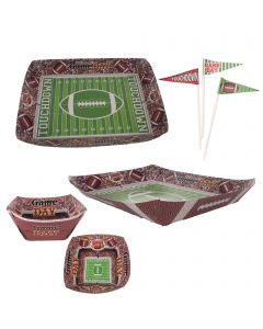 Forum Football Field Basic 40pc Party Serveware Set, Green White Brown