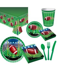 Forum Football Deluxe 75pc 8 Person Party Tableware Set, Green White Brown