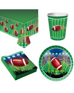 Forum Football Standard 33pc 8 Person Party Tableware Set, Green White Brown