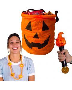 Large Jack 'O lantern Trick or Treat Pumpkin 3pc Light-Up Safety Kit, Orange