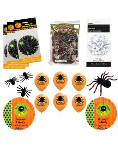 Spider Halloween Kit w 165sf Webbing 17pc Decoration Pack, Orange Green Black