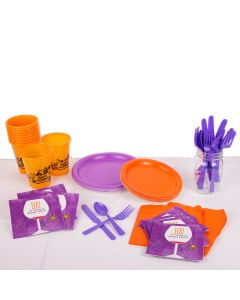 Spider Halloween Decorating Pack 78pc 8 Guests Party Tableware Set, Purple