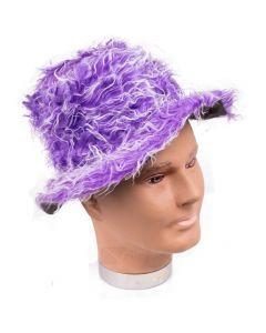 Veil Entertainment Fuzzy Pimp Halloween Costume Brim Hat, Purple, One-Size