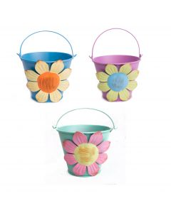 "Pastel Flower Summer Metal Bucket 4"" Decorative Planters, Assorted Colors, 3 CT"
