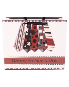 """Deluxe Horizontal Father's Day Tie 10""""x12.5""""x5.5"""" Gift Bag, Pink Red Black"""