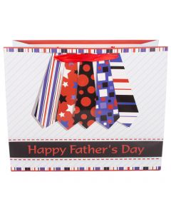 """Deluxe Horizontal Father's Day Tie 10""""x12.5""""x5.5"""" Gift Bag, Red Black Blue"""