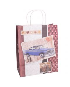"Large Kraft Men's Car Design Wood Pattern 12.75""x10""x5.5"" Gift Bag, Red Brown"