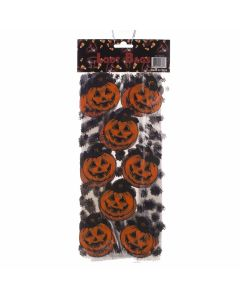 "Pumpkins Halloween Candy Prizes Cello 11"" x 3"" Favor Bags, Orange Black, 25 CT"