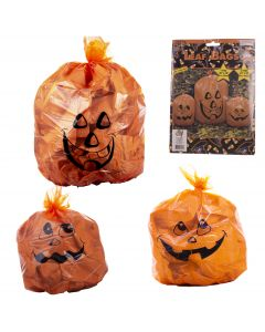 "Jack O Lantern Pumpkin Halloween 36""x48"", 24""x30"" Leaf Bags, Orange Black, 3 CT"