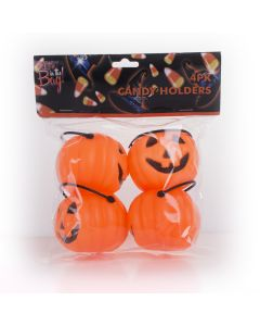 "Pumpkin Candy Holder Trick or Treat Mini Favor Buckets, 2.5"", Orange Black, 4 CT"