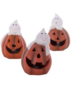 "Ceramic Pumpkin w Ghost Trio Light-Up 5"" Table Decoration, Orange White, 3 CT"
