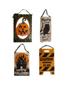 "Halloween Assortment Wooden Glitter Signs 10.5"" Hanging Decorations, 4 CT"