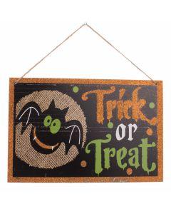 "Trick or Treat Halloween Bat Wooden Sign 11.5"" Decoration, Black Orange Green"
