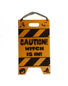 """Halloween Caution Witch Is In Wooden Sign 10.5"""" Hanging Decoration, Orange Black"""