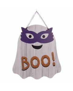 "Halloween Ghost Wooden Sign 9.75"" Hanging Decoration, White Orange Purple"