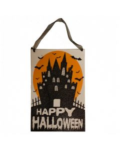 "Happy Halloween Mansion Wooden Sign 10.5"" Hanging Decoration, Black Orange"