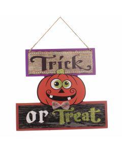 "Wooden Halloween Pumpkin 10.25"" Hanging Decoration, Orange Black Green"