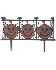 "Jack-O-Lantern Yard Fence, Outdoor Halloween Decoration, 19.5"" L, Black Orange"