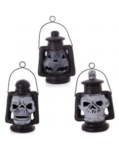 "Resin Pumpkin & Skulls Light-Up Lantern 5"" Table Decorations, Black White, 3 CT"