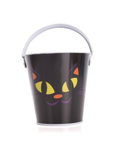 "Cat Halloween Candy Favor Tin 6"" Trick or Treat Bucket, Black Purple Orange"