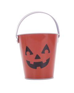 "Pumpkin Halloween Candy Favor Tin 6"" Trick or Treat Bucket, Orange Black"