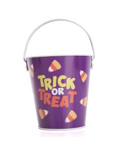 "Trick or Treat Halloween Candy Corn Tin 6"" Trick or Treat Bucket, Purple Orange"