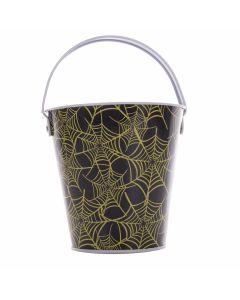 "Spiderweb Halloween Candy Favor Tin 6"" Trick or Treat Bucket, Black Yellow"