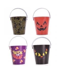 "Cat Spider Web Pumpkin Halloween Favor Tin 6"" Trick or Treat Bucket, 12 Pack"