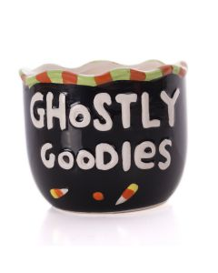 "Ghostly Goodies Cermamic 4"" Trick or Treat Candy Bowl & Holder, Black White"