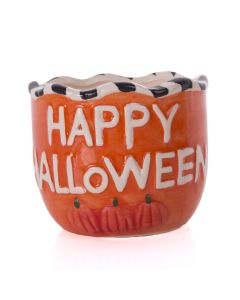 "Happy Halloween Pumpkins Cermamic 4"" Trick or Treat Candy Bowl, Orange White"