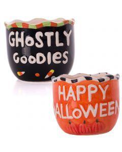 "Halloween Pumpkin Spooky Goodies Ceramic 4"" Treat Candy Bowl & Holder"