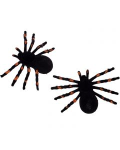"""Halloween Sparkly Spider Decor 5"""" Decoration Props, Black Orange, 2 CT"""
