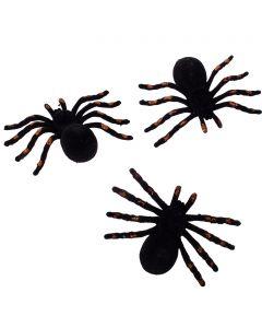"""Halloween Sparkly Spider Decor 4.5"""" Decoration Props, Black Orange, 3 CT"""