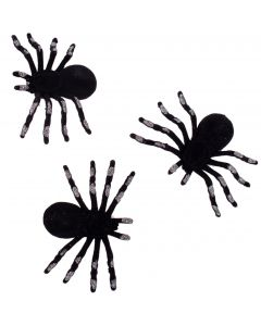 "Halloween Spiders Table Decor 4.5"" Decoration Props, Black Silver, 3 CT"